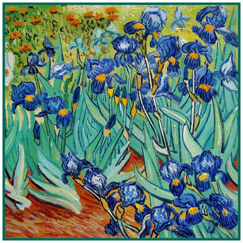 Irises in the Garden detail inspired by Impressionist Vincent Van Gogh's Painting Counted Cross Stitch Pattern