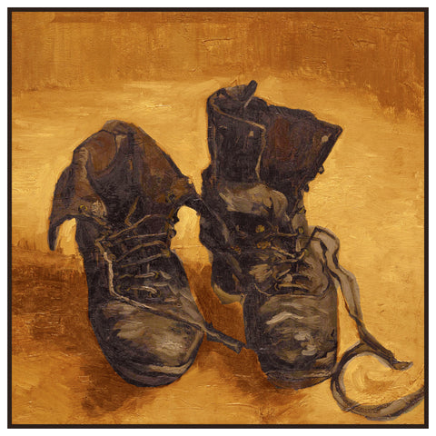 A Pair of Work Boots Detail by Vincent Van Gogh Counted Cross Stitch or Counted Needlepoint Pattern