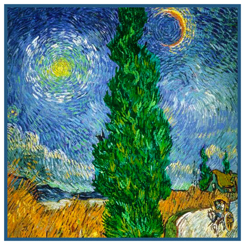 Cypress Road Moon Stars Detail by Vincent Van Gogh Counted Cross Stitch Pattern