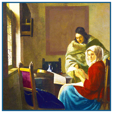 Girl Interrupted at Her Music by Johannes Vermeer Counted Cross Stitch Pattern
