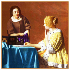 Maid Delivering a Letter by Johannes Vermeer Counted Cross Stitch Pattern