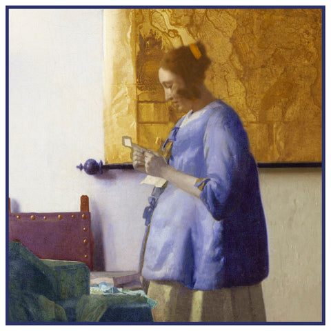 Girl Reading a Letter  by Johannes Vermeer Counted Cross Stitch Pattern