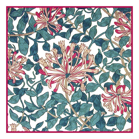 Honeysuckle Design in Pinks and Greens by William Morris Design Counted Cross Stitch Pattern DIGITAL DOWNLOAD