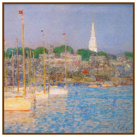 Cat Boats at Newport Rhode Island by American Impressionist Painter Childe Hassam Counted Cross Stitch Pattern