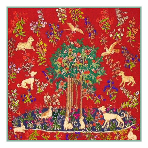 Tree with Animals Detail from the Lady and The Unicorn Tapestries Counted Cross Stitch or Counted Needlepoint Pattern