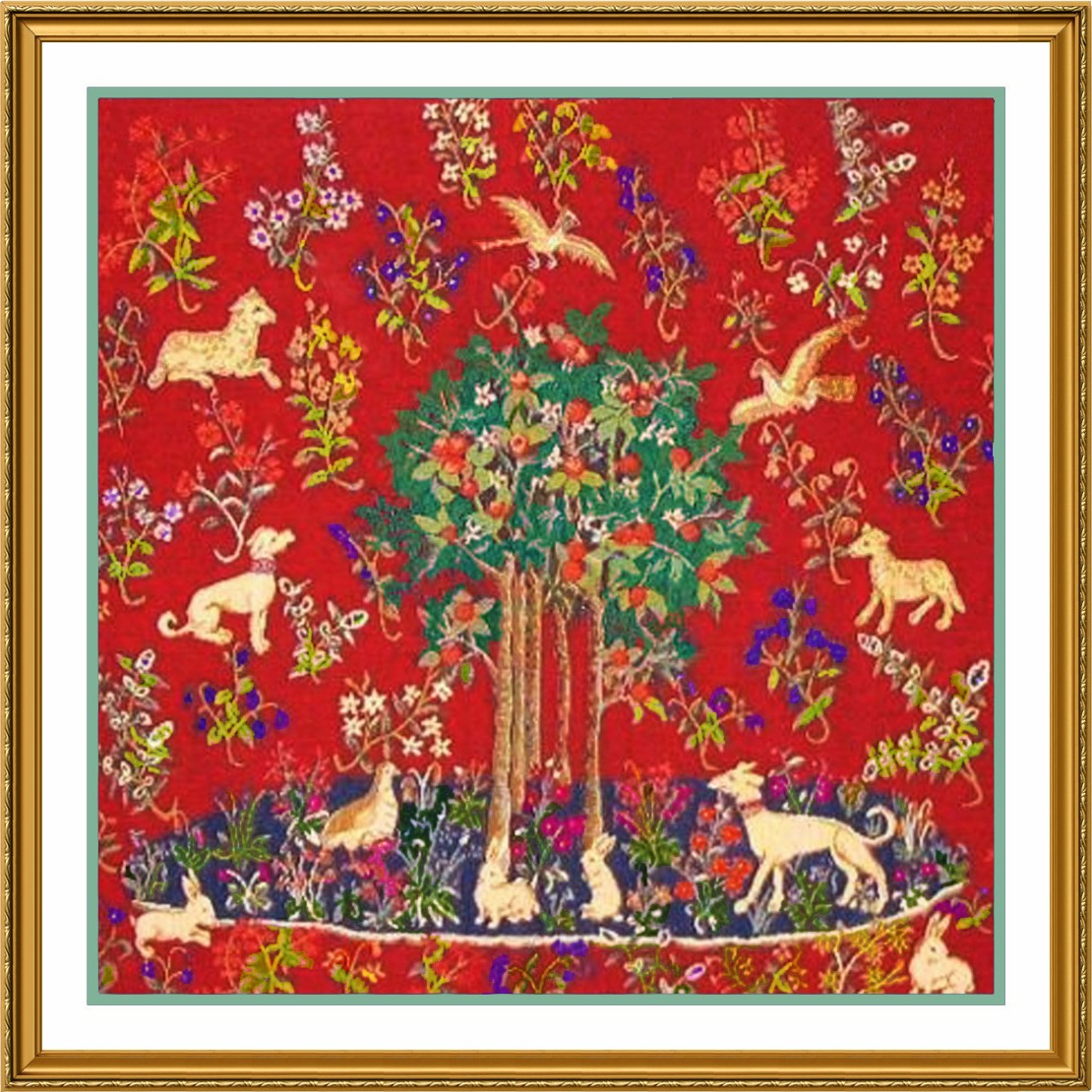 Medieval Animal Tree of Life detail Lady Unicorn Counted Cross Stitch Pattern