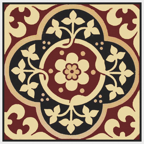 AWN Pugin's Geometric Tile #12 Orenco Originals Counted Cross Stitch Pattern