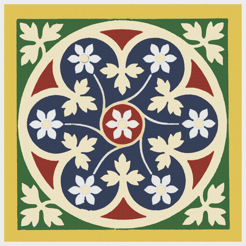 AWN Pugin Leaf Tile Orenco Originals Counted Cross Stitch Chart Pattern