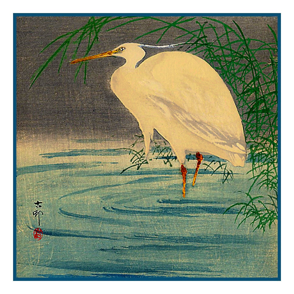 Japanese Artist Ohara (Koson) Shoson's Egret on a Pond Counted Cross Stitch Pattern