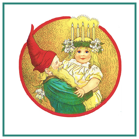 Elf and Baby at a Santa Lucia Festival Jenny Nystrom Holiday Christmas Counted Cross Stitch or Counted Needlepoint Pattern