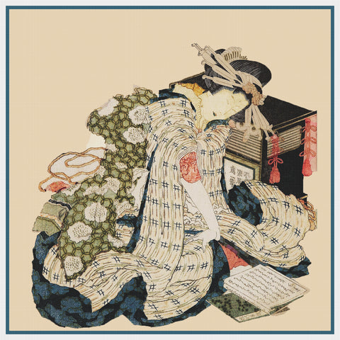 Asian Japanese A Courtesan Asleep Hokusai Counted Cross Stitch Chart Pattern