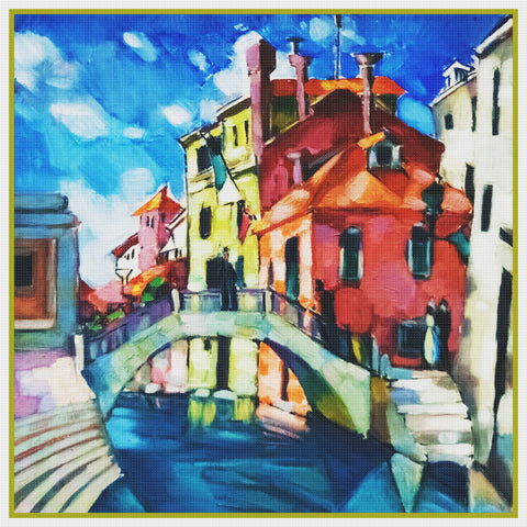 Venice Italy Landscape by Artist Konrad Mägi Counted Cross Stitch Pattern