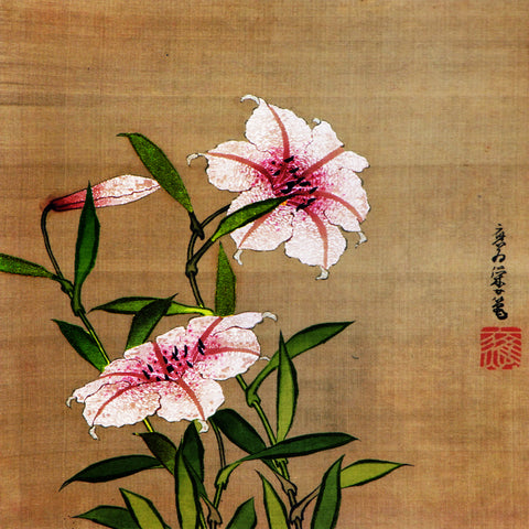 Asian Lily Flowers Katsushika Oi Daughter of Hokusai Counted Cross Stitch Pattern