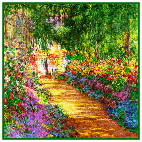 The Garden in Flower in Giverny inspired by Claude Monet's impressionist painting Counted Cross Stitch Pattern