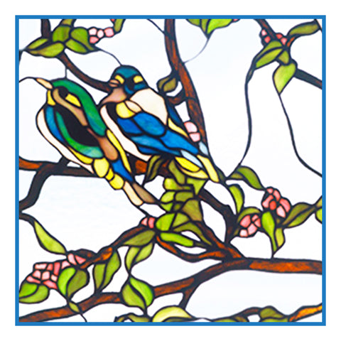 Bluebird Birds inspired by the work of Art Nouveau and Stained Glass Artist Louis Comfort Tiffany  Counted Cross Stitch or Counted Needlepoint Pattern