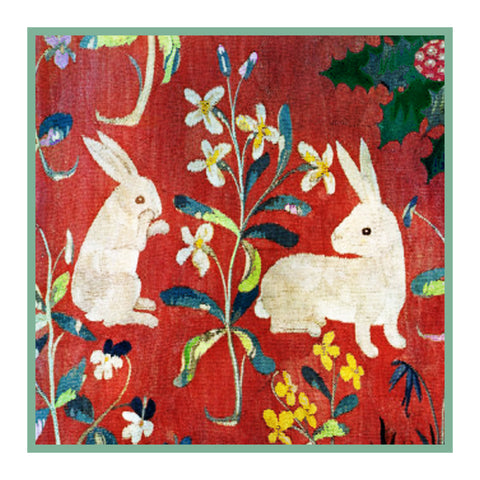 Two Rabbits Detail from the Lady and The Unicorn Tapestries Counted Cross Stitch or Counted Needlepoint Pattern
