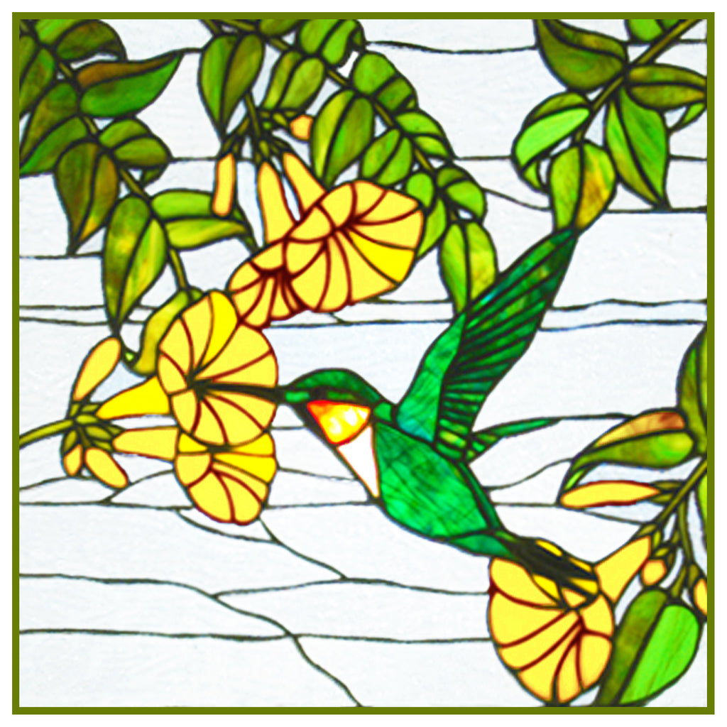 Hummingbird Flower detail inspired by Louis Comfort Tiffany  Counted Cross Stitch or Counted Needlepoint Pattern