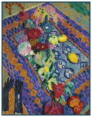 Still Life with Gloves by Artist Robert Delaunay Counted Cross Stitch or Counted Needlepoint Pattern