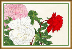 Tanigami Konan Asian Roses Flowers Counted Cross Stitch or Counted Needlepoint Pattern