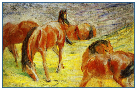 Sketch of Grazing Horses by Expressionist Artis Franz Marc Counted Cross Stitch Pattern Digital Download
