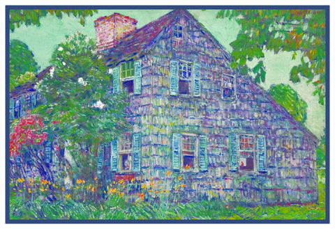 Old House in East Hampton Long Island by American Impressionist Painter Childe Hassam Counted Cross Stitch Pattern