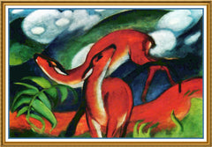 Deer Playing by Expressionist Artis Franz Marc Counted Cross Stitch or Counted Needlepoint Pattern