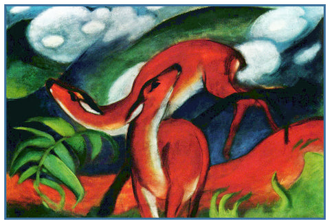 Deer Playing by Expressionist Artis Franz Marc Counted Cross Stitch Pattern