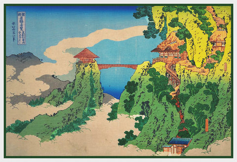 Asian Japanese Hanging Cloud Bridge by Hokusai Counted Cross Stitch Pattern
