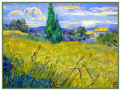 Green Wheat Field with Cypress Trees inspired by Impressionist Vincent Van Gogh's Painting Counted Cross Stitch Pattern