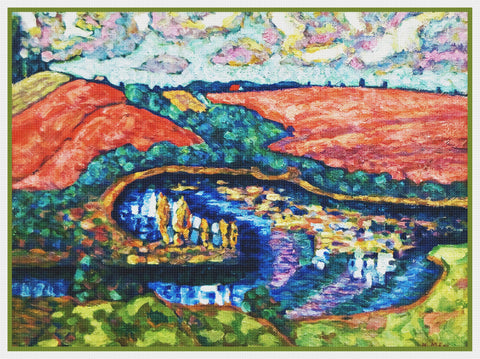 Estonian Summer Landscape by Artist Konrad Mägi Counted Cross Stitch Pattern