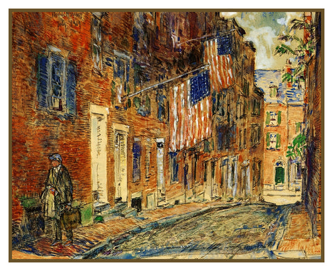 Acorn Street on Beacon Hill Boston Massachusetts by American Impressionist Painter Childe Hassam Counted Cross Stitch or Counted Needlepoint Pattern