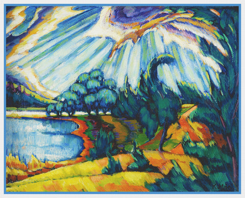 Sun On Lake Pühajärve Landscape Artist Konrad Mägi Counted Cross Stitch Pattern