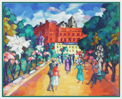 A Walk in Rome Landscape by Artist Konrad Mägi Counted Cross Stitch Pattern