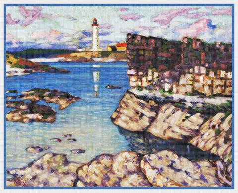 Seascape Lighthouse Landscape Artist Konrad Mägi Counted Cross Stitch Pattern