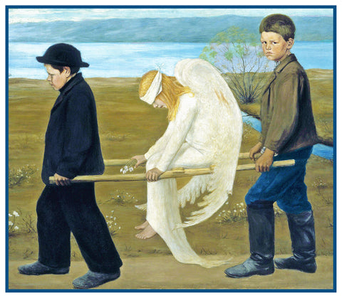 The Wounded Angel by Symbolist Painter Hugo Simberg Counted Cross Stitch Pattern