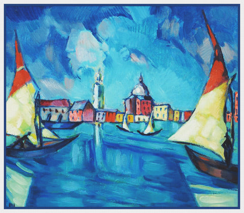 Sailboats in Venice Landscape Artist Konrad Mägi Counted Cross Stitch Pattern