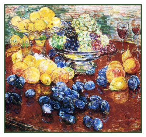 Still Life of Fruits by American Impressionist Painter Childe Hassam Counted Cross Stitch Pattern