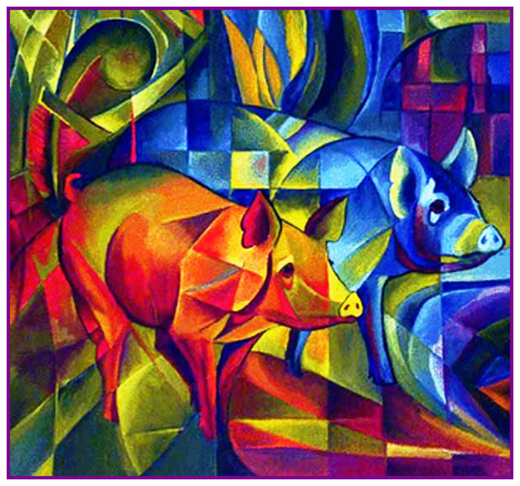 Red and Blue Piggies by Expressionist Artis Franz Marc Counted Cross Stitch Pattern