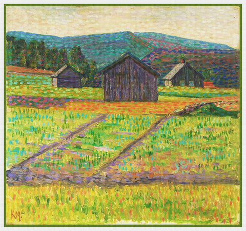 A Farm Landscape by Artist Konrad Mägi Counted Cross Stitch Pattern