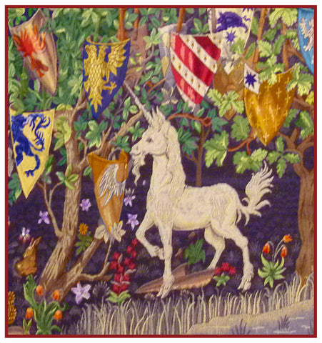 Heraldry Unicorn design by William Morris Counted Cross Stitch Pattern