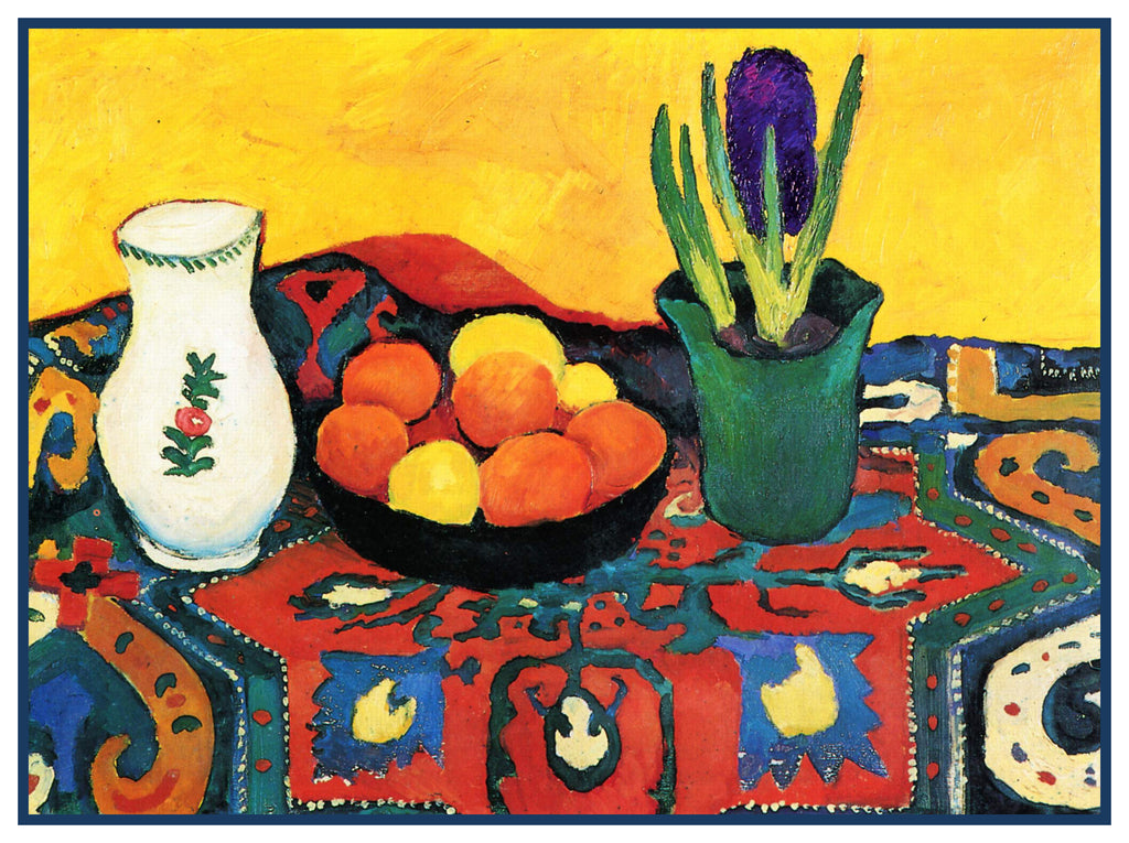 Hyacith Plant Fruit on a Colorful Carpet Still Life by Expressionist Artist August Macke Counted Cross Stitch or Counted Needlepoint Pattern