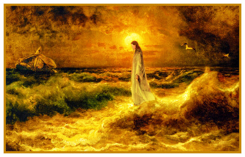 Jesus Christ Walking on Water By Jullius Von Klever Counted Cross Stitch Pattern DIGITAL DOWNLOAD