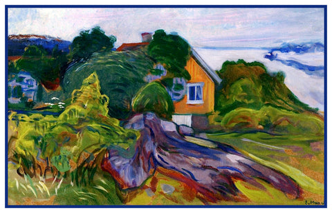 House by the Fjord by Symbolist Artist Edvard Munch Counted Cross Stitch Pattern
