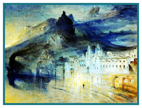 John Ruskin's View of Amalfi Italy Counted Cross Stitch or Counted Needlepoint Pattern