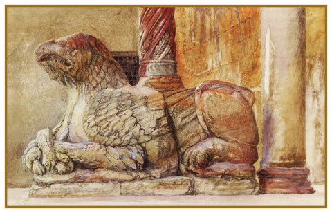 Sketch of The Gryphon from the Duomo Verona Italy by John Ruskin Counted Cross Stitch or Counted Needlepoint Pattern