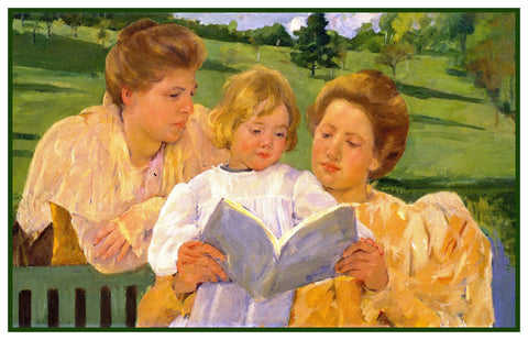 A Family Reading Lesson by American impressionist artist Mary Cassatt Counted Cross Stitch or Counted Needlepoint Pattern
