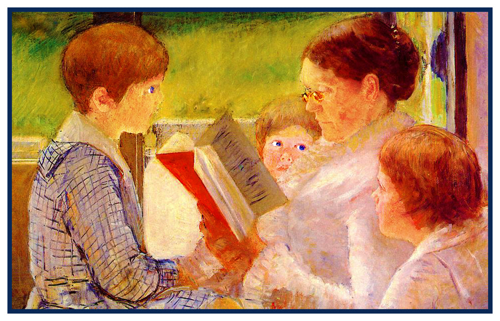 Mrs Cassat Reading to Grandchildren by American Impressionist Artist Mary Cassatt Counted Cross Stitch or Counted Needlepoint Pattern