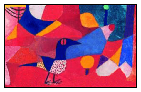 Forest Bird by Expressionist Artist Paul Klee Counted Cross Stitch Pattern