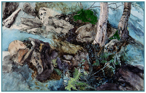 Rocks and Ferns from Crossmount Woods by John Ruskin Counted Cross Stitch or Counted Needlepoint Pattern