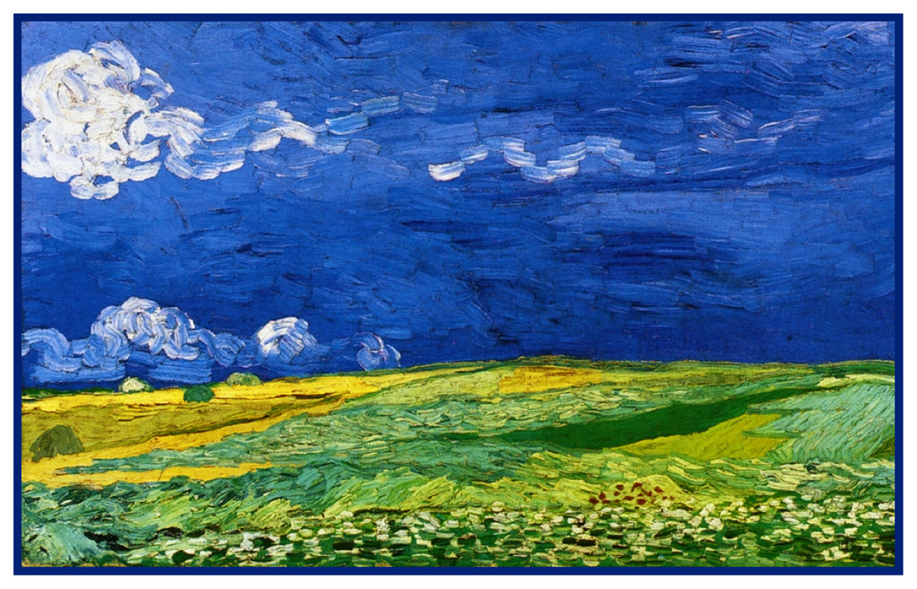 Corn Field in a Storm inspired by Impressionist Vincent Van Gogh's Painting Counted Cross Stitch  Pattern - Orenco Originals LLC